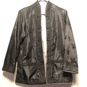 Chinese reversible coat/jacket black and silver